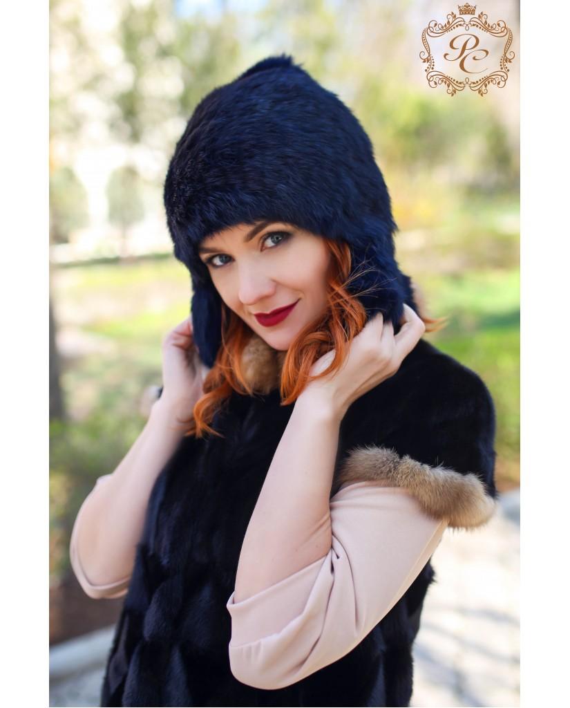 шапочка синяя с ушками