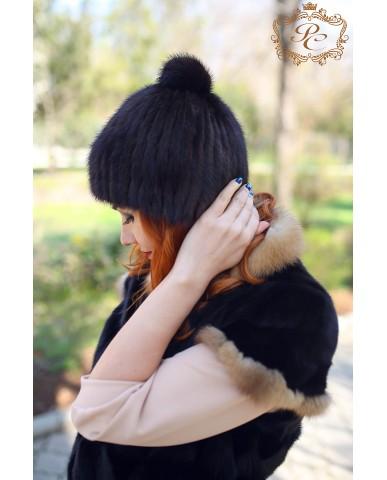 шапка норка меховой бубон