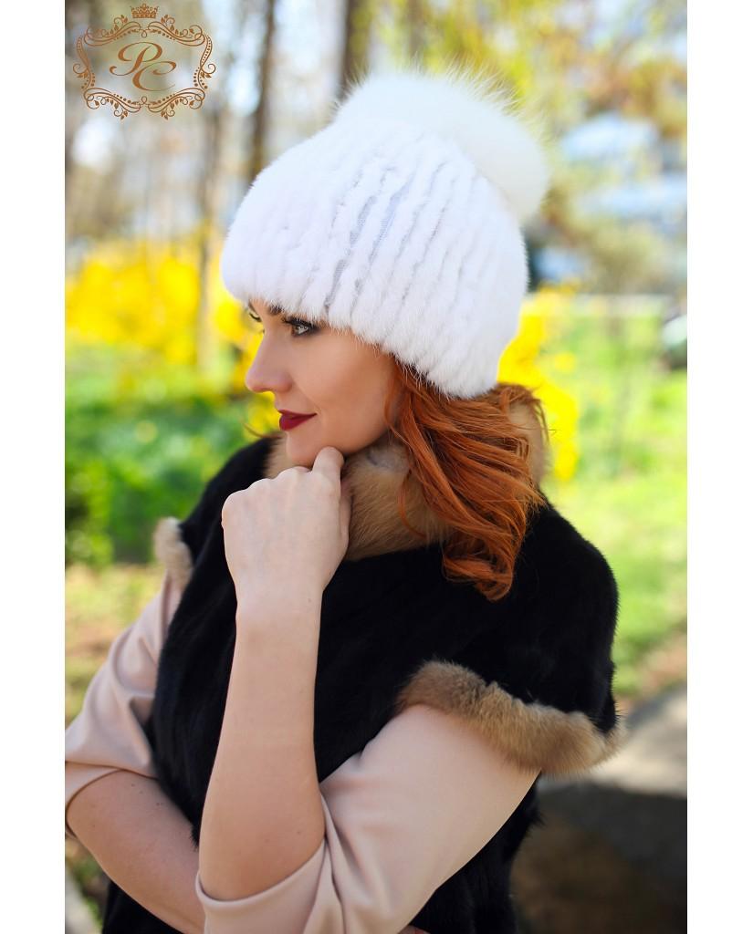 шапочка белая норка-писец