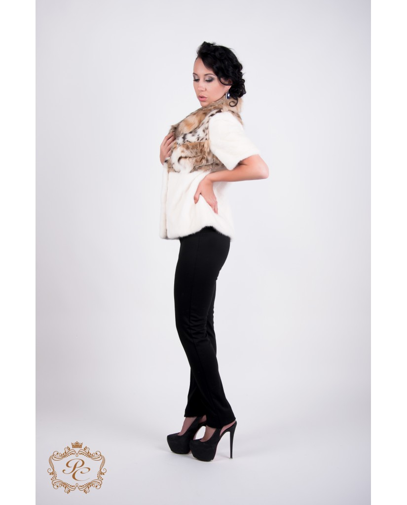 Шуба-корсет, белый  из стриженной норки и рыси.